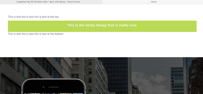 sticky on website